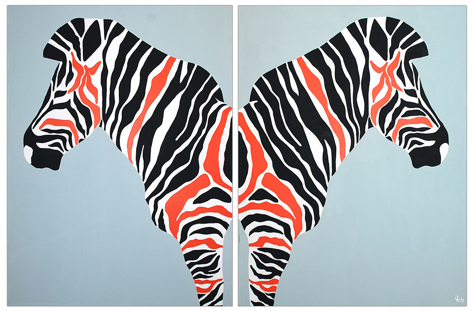 zebra_diptych_orange_commission